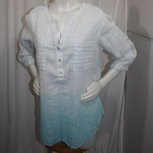Vintage American Blues Cotton Ombre Stripe Tunic